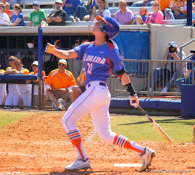 Senior Ensley Gammel watching the ball during the Gator's softball game against University of Tennessee on Saturday March 16, 2013, at Katie Seashole Pressly Stadium in Gainesville, Fla. / Gator Country photo by Danielle Bloch