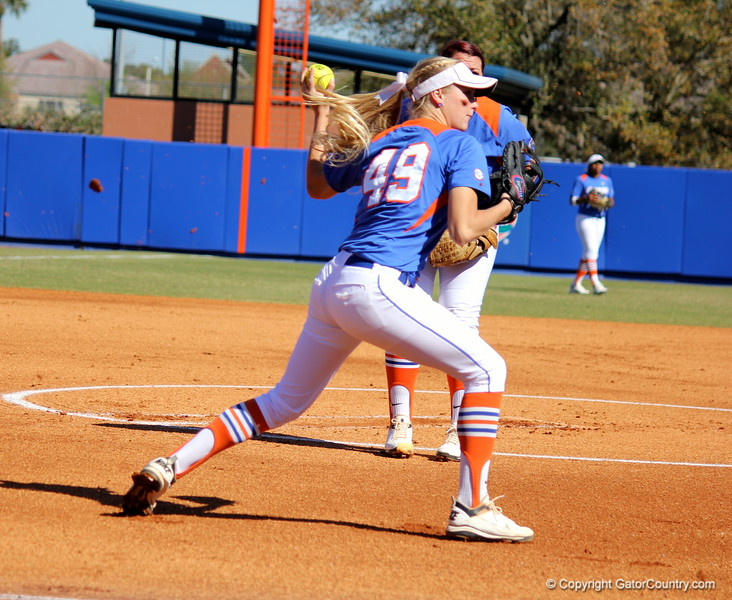Freshman Taylor Schwarz throwing the ball during the Gator's softball game against University of Tennessee on Saturday March 16, 2013, at Katie Seashole Pressly Stadium in Gainesville, Fla. / Gator Country photo by Danielle Bloch