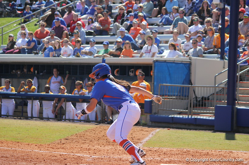 Sophomore Kathlyn Medina running to first base during the Gator's softball game against University of Tennessee on Saturday March 16, 2013, at Katie Seashole Pressly Stadium in Gainesville, Fla. / Gator Country photo by Danielle Bloch