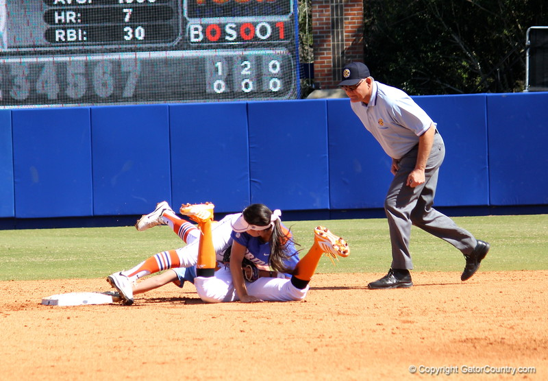 Kathlyn Medina getting tripped by a Vols' player after tagging her out during the Gator's softball game against University of Tennessee on Saturday March 16, 2013, at Katie Seashole Pressly Stadium in Gainesville, Fla. / Gator Country photo by Danielle Bloch
