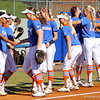 The team psyching one another up at the end of warmups during the Gator's softball game against University of Tennessee on Saturday March 16, 2013, at Katie Seashole Pressly Stadium in Gainesville, Fla. / Gator Country photo by Danielle Bloch