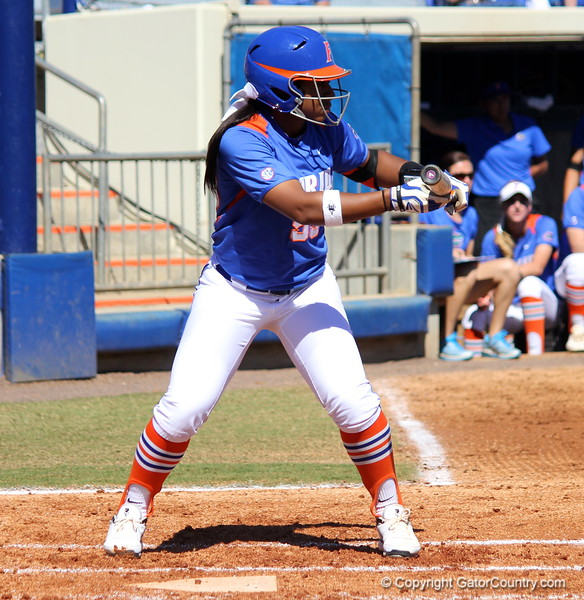 Sophomore Briana Little preparing to bunt during the Gator's softball game against University of Tennessee on Saturday March 16, 2013, at Katie Seashole Pressly Stadium in Gainesville, Fla. / Gator Country photo by Danielle Bloch