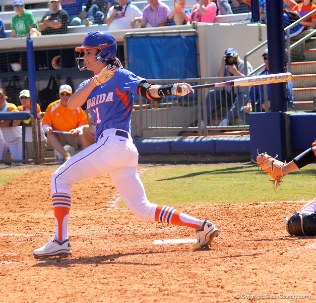 Senior Ensley Gammel up at bat during the Gator's softball game against University of Tennessee on Saturday March 16, 2013, at Katie Seashole Pressly Stadium in Gainesville, Fla. / Gator Country photo by Danielle Bloch