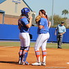 Catcher Taylore Fuller discussing game strategy with pitcher Lauren Haeger during the Gator's softball game against University of Tennessee on Saturday March 16, 2013, at Katie Seashole Pressly Stadium in Gainesville, Fla. / Gator Country photo by Danielle Bloch