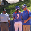 Kelsey Stewart getting game advice from assistant Coach Kenny Gajewski on first base during the Gator's softball game against University of Tennessee on Saturday March 16, 2013, at Katie Seashole Pressly Stadium in Gainesville, Fla. / Gator Country photo by Danielle Bloch