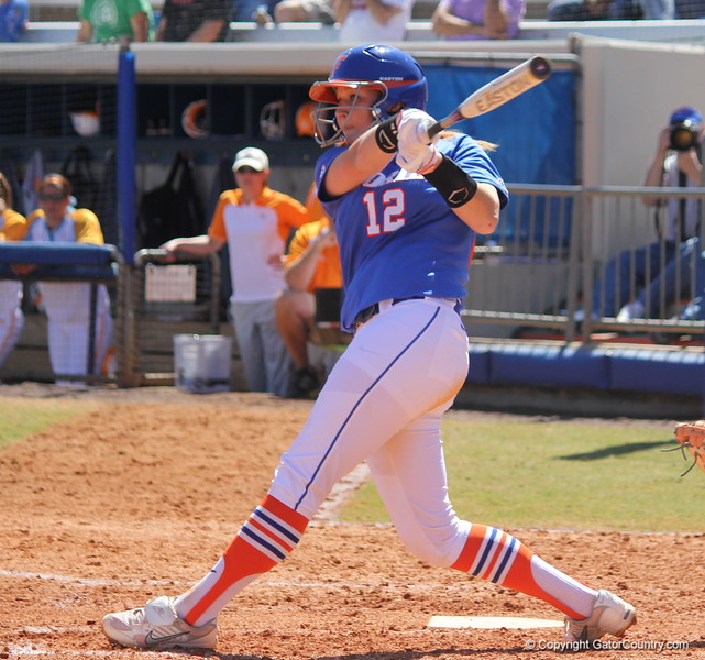 Freshman Taylor Fuller swing the bat during the Gator's softball game against University of Tennessee on Saturday March 16, 2013, at Katie Seashole Pressly Stadium in Gainesville, Fla. / Gator Country photo by Danielle Bloch