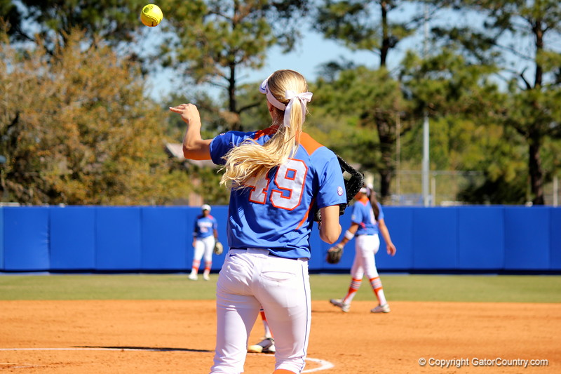 Freshman Taylor Schwarz throwing the ball back to the pitcher's mound during the Gator's softball game against University of Tennessee on Saturday March 16, 2013, at Katie Seashole Pressly Stadium in Gainesville, Fla. / Gator Country photo by Danielle Bloch
