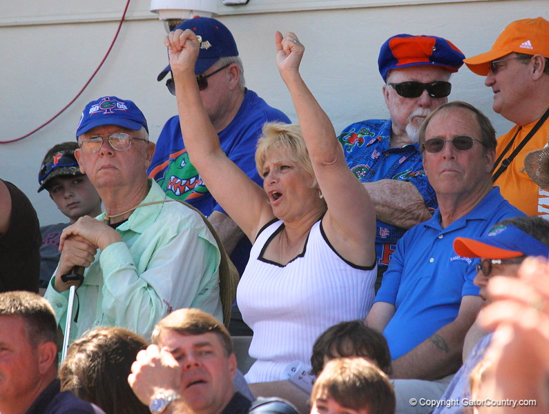 An enthusiastic fan cheerlng during the Gator's softball game against University of Tennessee on Saturday March 16, 2013, at Katie Seashole Pressly Stadium in Gainesville, Fla. / Gator Country photo by Danielle Bloch