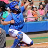 Catcher Taylore Fuller reaching to catch a ball during the Gator's softball game against University of Tennessee on Saturday March 16, 2013, at Katie Seashole Pressly Stadium in Gainesville, Fla. / Gator Country photo by Danielle Bloch