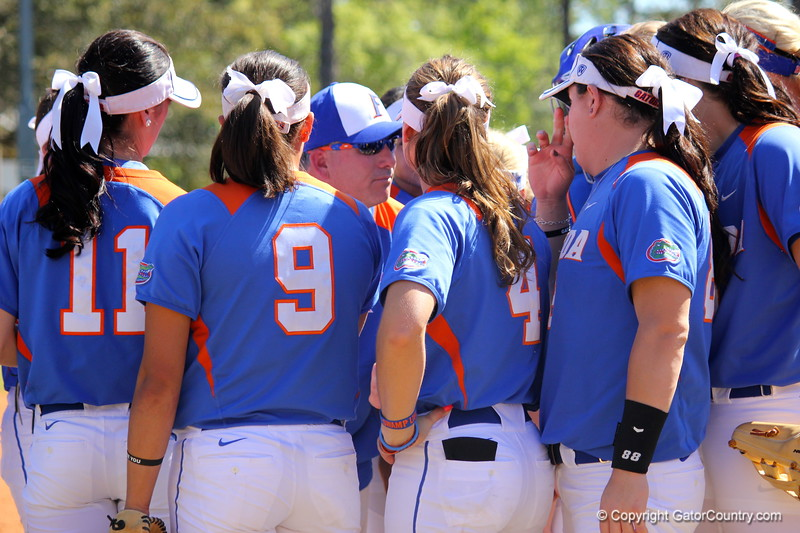 Head coach Tim Walton giving a mid-game pep talk during the Gator's softball game against University of Tennessee on Saturday March 16, 2013, at Katie Seashole Pressly Stadium in Gainesville, Fla. / Gator Country photo by Danielle Bloch