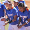 Freshmen Aubree Munro and Kelsey Stewart dancing back to the dugout after Lauren Haeger's home run during the Gator's softball game against University of Tennessee on Saturday March 16, 2013, at Katie Seashole Pressly Stadium in Gainesville, Fla. / Gator Country photo by Danielle Bloch