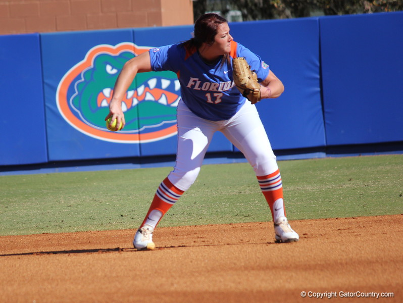 Sophomore pitcher Lauren Haeger warming up during the Gator's softball game against University of Tennessee on Saturday March 16, 2013, at Katie Seashole Pressly Stadium in Gainesville, Fla. / Gator Country photo by Danielle Bloch