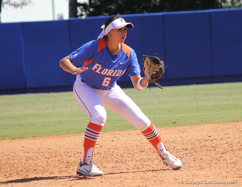 Sophomore Kathlyn Medina anticipating the play during the Gator's softball game against University of Tennessee on Saturday March 16, 2013, at Katie Seashole Pressly Stadium in Gainesville, Fla. / Gator Country photo by Danielle Bloch