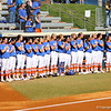 Florida lined up for the national anthem during the Gator's softball game against University of Tennessee on Saturday March 16, 2013, at Katie Seashole Pressly Stadium in Gainesville, Fla. / Gator Country photo by Danielle Bloch
