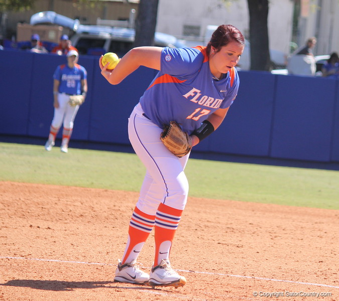 Sophomore Lauren Haeger about to pitch during the Gator's softball game against University of Tennessee on Saturday March 16, 2013, at Katie Seashole Pressly Stadium in Gainesville, Fla. / Gator Country photo by Danielle Bloch