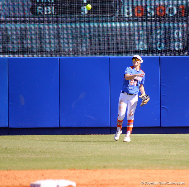 Freshman Kirsti Merritt throwing the ball in from the outfield during the Gator's softball game against University of Tennessee on Saturday March 16, 2013, at Katie Seashole Pressly Stadium in Gainesville, Fla. / Gator Country photo by Danielle Bloch