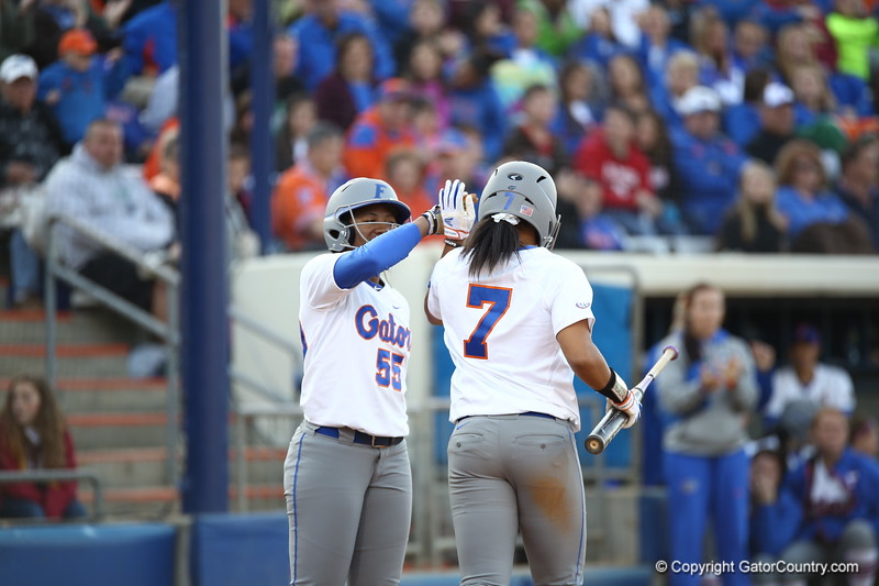 Kelsey Stewart and Briana Little during Florida's 7-3 win over Florida State on March 27, 2013 in Gainesville, Florida.