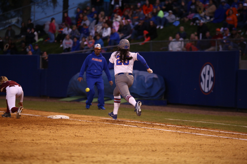 Kelsey Horton during Florida's 7-3 win over Florida State on March 27, 2013 in Gainesville, Florida.