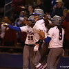 Briana Little, Lauren Haeger and Stehanie Tofft during Florida's 7-3 win over Florida State on March 27, 2013 in Gainesville, Florida.