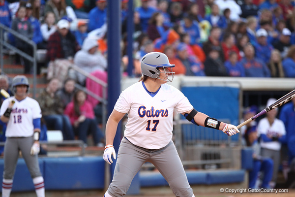 Lauren Haeger during Florida's 7-3 win over Florida State on March 27, 2013 in Gainesville, Florida.