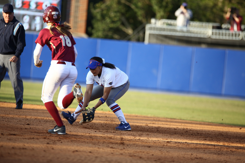 Kelsey Stewart during Florida's 7-3 win over Florida State on March 27, 2013 in Gainesville, Florida.Ste