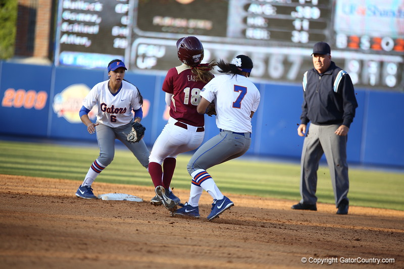 Kelsey Stewart during Florida's 7-3 win over Florida State on March 27, 2013 in Gainesville, Florida.