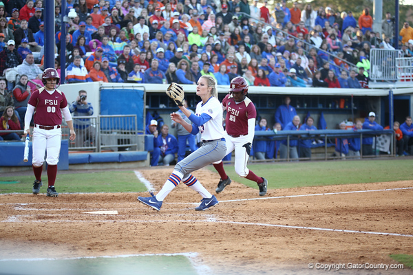 Hannah Rogers during Florida's 7-3 win over Florida State on March 27, 2013 in Gainesville, Florida.