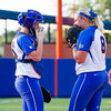 Pitcher Alyssa Bache and teammate during the Florida vs Hampton game on May 17, 2013.