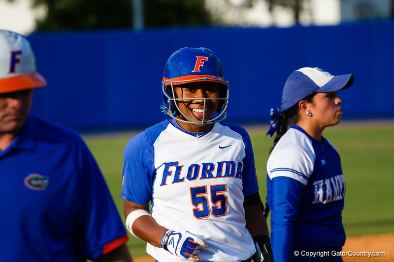 Briana Little ends up on third after hitting a triple in the bottom of the third inning.