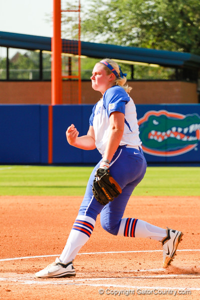 Florida's pitcher, Alyssa Bache, delivered the Gators to a 7-1 win over Hampton on May 17, 2013.