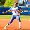 Kelsey Stewart makes a throw for first base in the Florida vs Hampton game on May 17, 2013.