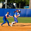 Lauren Haeger is tagged out heading back toward first during the Florida vs Hampton game on May 17, 2013.