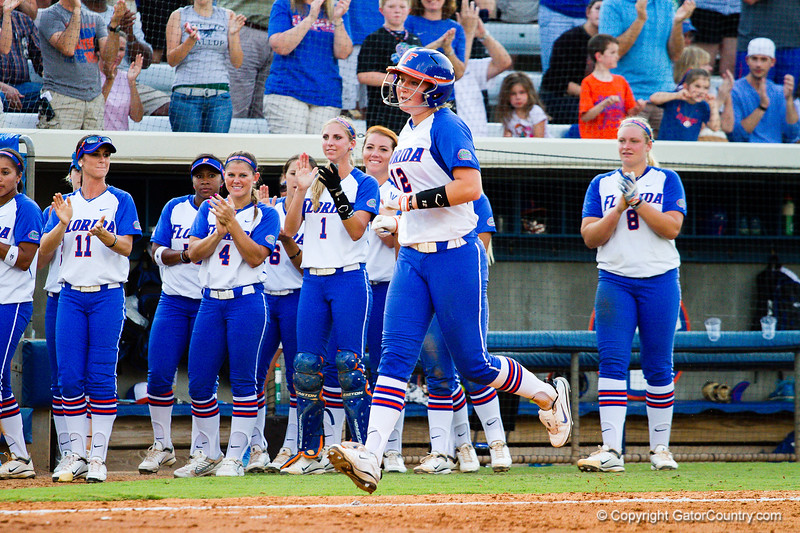 Taylore Fuller heads for home after hitting one deep. This was Florida's second home run of the game. Fuller's teammate, Horton, hit the first home run of the game just two batters earlier.