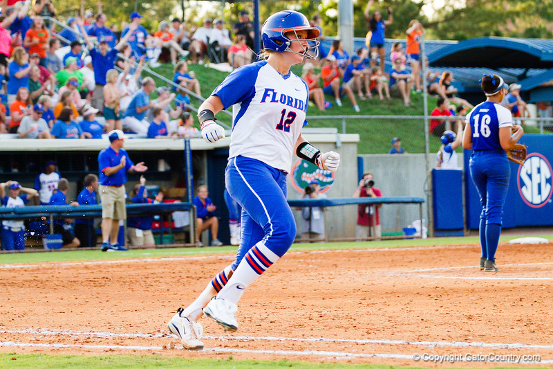 Taylore Fuller heads to first after hitting one deep. This was Florida's second home run of the game. Fuller's teammate, Horton, hit the first home run of the game just two batters earlier.
