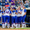 Taylore Fuller and the rest of team celebrate Fuller's home run against Hampton on May 17, 2013.