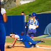 Kirsti Merritt beats out the play to put a hit on the board for Florida in the Florida vs Hampton game on May 17, 2013.