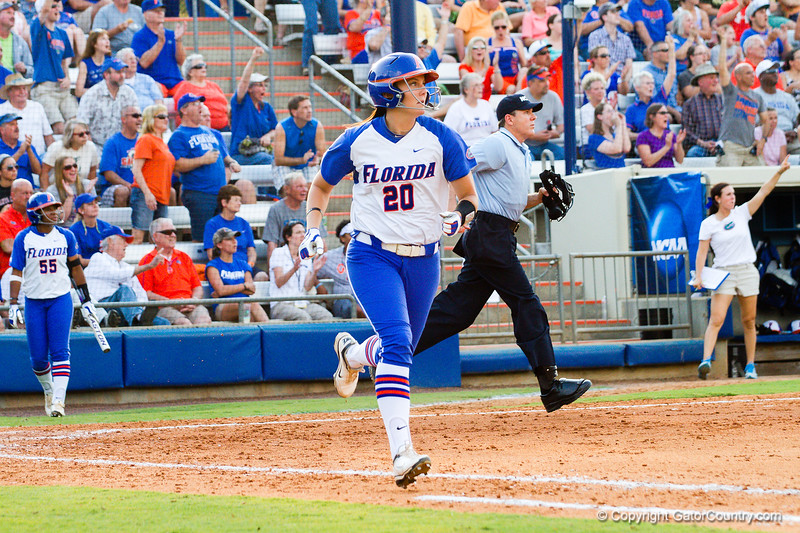 Kelsey Horton headed for first base after hitting a home run against Hampton on May 17, 2013.