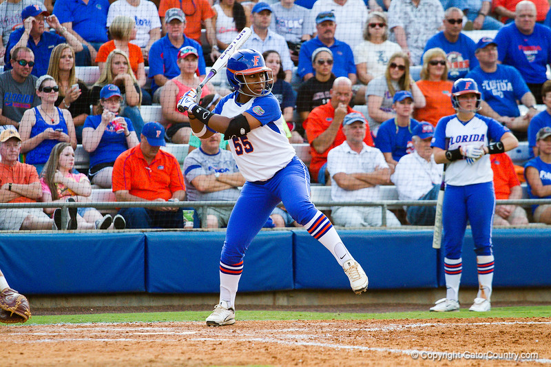 Briana Little takes a big swing against Hampton on May 17, 2013.