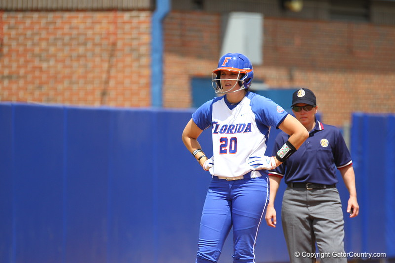 Kelsey Horton on third during Florida's 5-6 loss to Mississippi State on Sunday, April 8th 2013 at the Katie Seashole Pressly Softball Stadium in Gainesville, Florida.