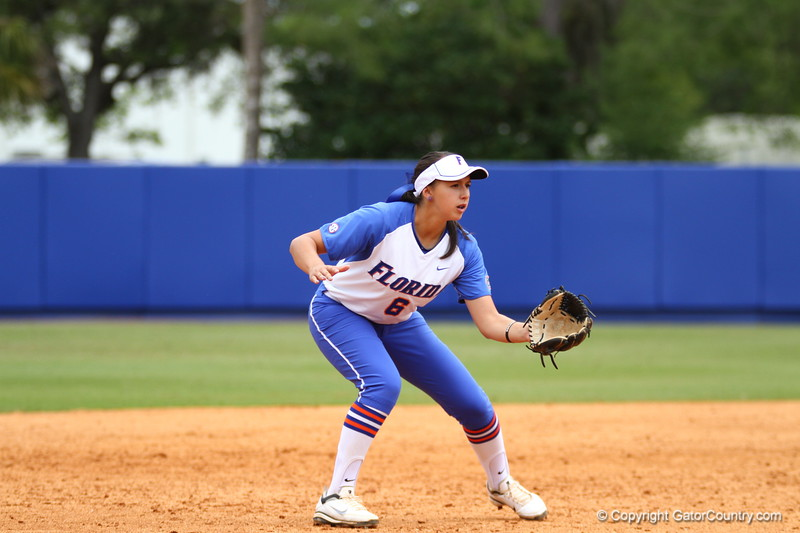 Kathlyn Medina gets ready during Florida's 5-6 loss to Mississippi State on Sunday, April 8th 2013 at the Katie Seashole Pressly Softball Stadium in Gainesville, Florida.