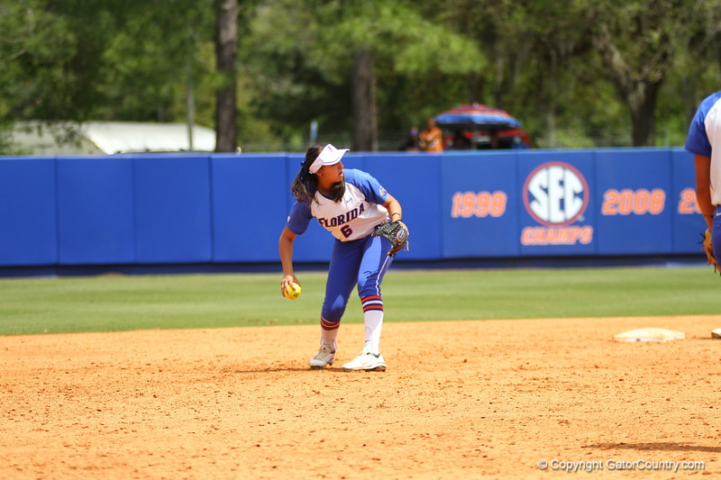 Kathlyn Medina fields a ball during Florida's 5-6 loss to Mississippi State on Sunday, April 8th 2013 at the Katie Seashole Pressly Softball Stadium in Gainesville, Florida.