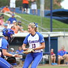 Hannah Rogers and Taylore Fuller celebrate a strikeout during Florida's 5-6 loss to Mississippi State on Sunday, April 8th 2013 at the Katie Seashole Pressly Softball Stadium in Gainesville, Florida.