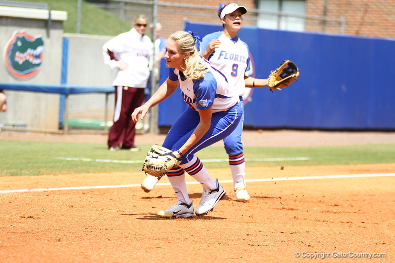 Hannah Rogers fields a ground ball during Florida's 5-6 loss to Mississippi State on Sunday, April 8th 2013 at the Katie Seashole Pressly Softball Stadium in Gainesville, Florida.
