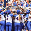 Celebrating Taylore Fuller's grand slam during Florida's 5-6 loss to Mississippi State on Sunday, April 8th 2013 at the Katie Seashole Pressly Softball Stadium in Gainesville, Florida.