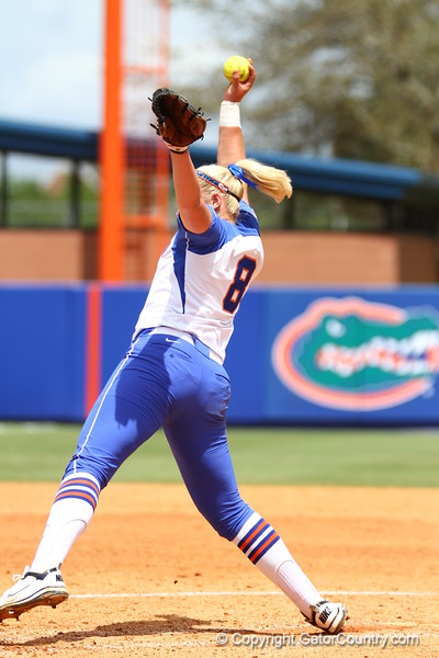 Alyssa Bache pitches during Florida's 5-6 loss to Mississippi State on Sunday, April 8th 2013 at the Katie Seashole Pressly Softball Stadium in Gainesville, Florida.