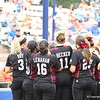 Mississippi State's players meet Briana Bell at home plate after her home run during Florida's 5-6 loss to Mississippi State on Sunday, April 8th 2013 at the Katie Seashole Pressly Softball Stadium in Gainesville, Florida.