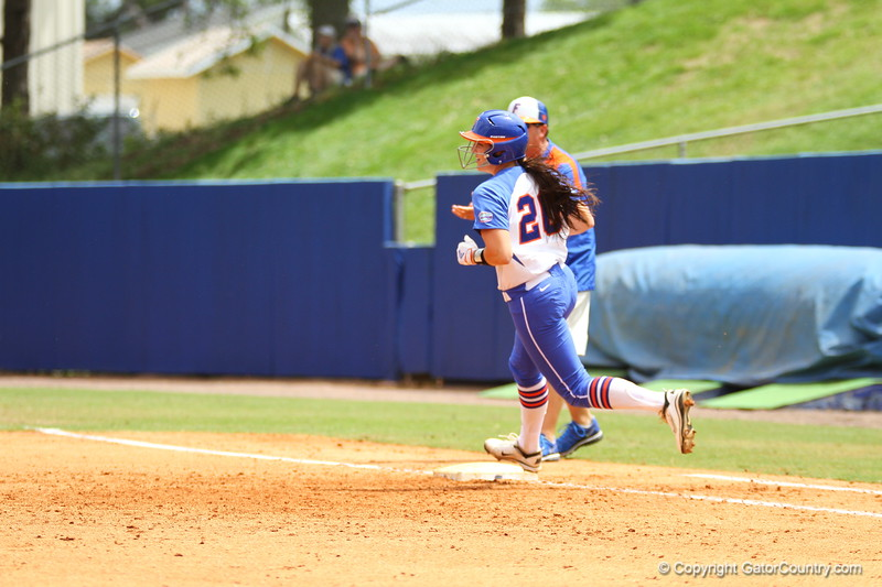 Kelsey Horton runs past first during Florida's 5-6 loss to Mississippi State on Sunday, April 8th 2013 at the Katie Seashole Pressly Softball Stadium in Gainesville, Florida.