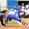 Taylore Fuller tags out Heidi Shape at home plate during Florida's 5-6 loss to Mississippi State on Sunday, April 8th 2013 at the Katie Seashole Pressly Softball Stadium in Gainesville, Florida.