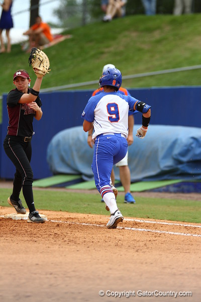 Stephanie Tofft runs to first during Florida's 5-6 loss to Mississippi State on Sunday, April 8th 2013 at the Katie Seashole Pressly Softball Stadium in Gainesville, Florida.