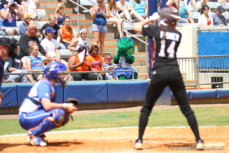 Alberta watches during Florida's 5-6 loss to Mississippi State on Sunday, April 8th 2013 at the Katie Seashole Pressly Softball Stadium in Gainesville, Florida.